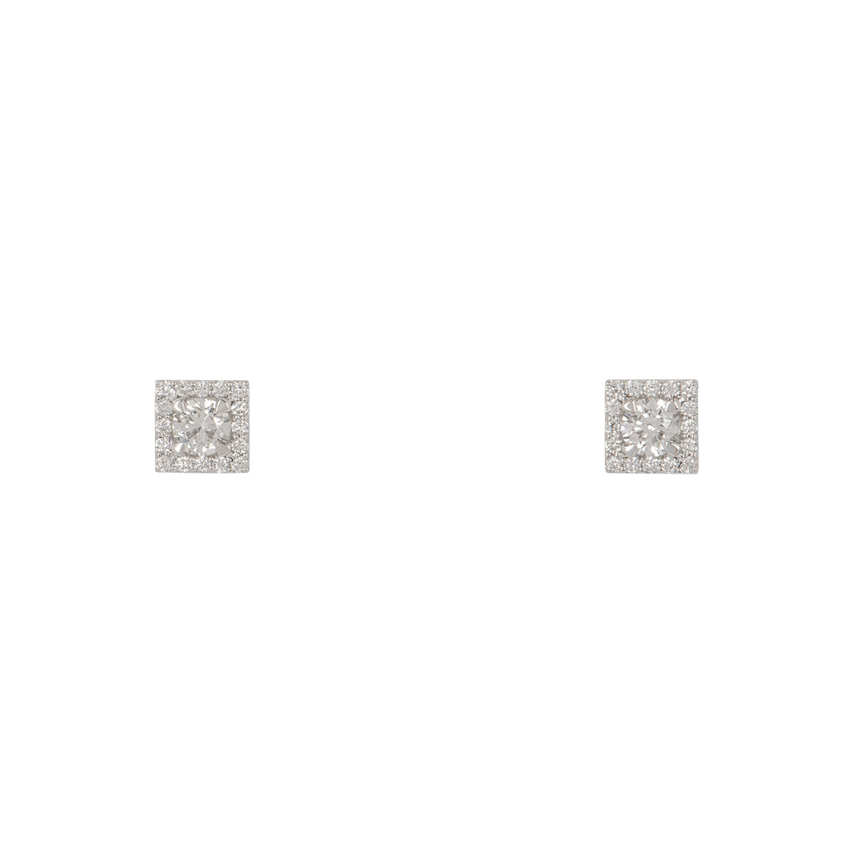 White Gold Diamond Cluster Set Earrings 1.17ct